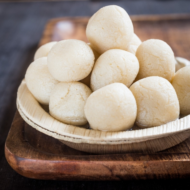 Rasgulla, a Bengali sweet made with <i>khoya</i>.