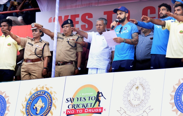 Thiruvananthapuram : Indian skipper Virat Kohli reads out the  anti-drug pledge at the inagural ceremony of the anti-drug campaign by the Kerala Police titled 'Yes to Cricket and No to Drugs' in Thiruvananthapuram on Monday.
