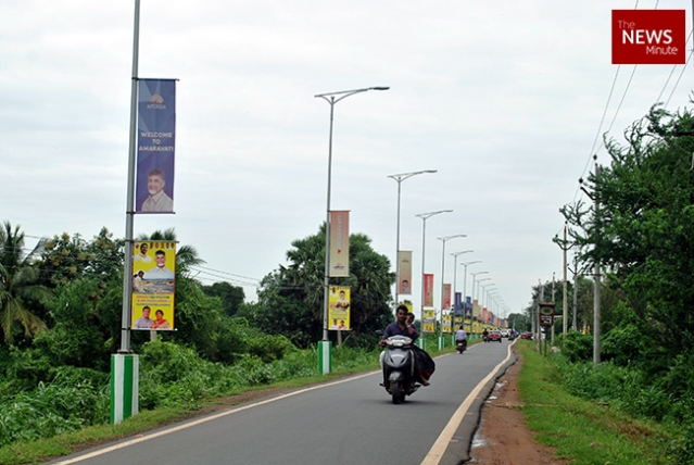 The single-lane road running through Amaravati's 29 villages is lined with posters of Chandrababu Naidu