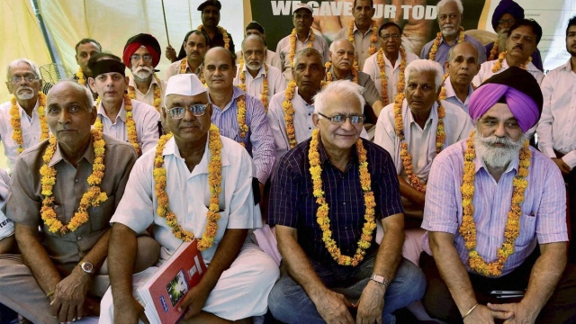 Ex-army men protest over One Rank One Pension at Jantar Mantar in New Delhi.