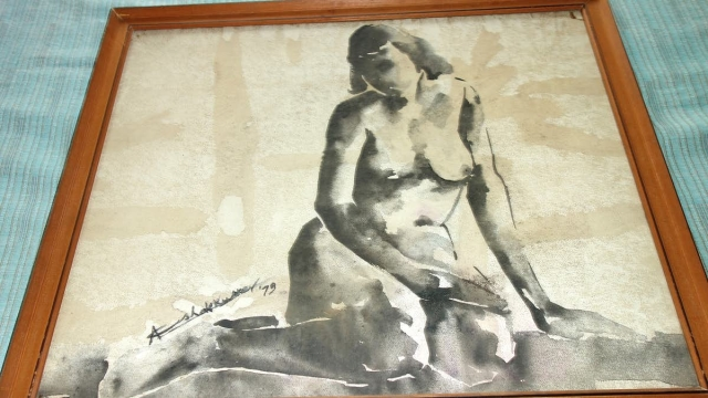 An aesthetic rendition of a nude woman by the late Ashok Kumar.