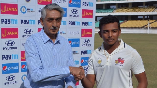 File photo of Prithvi Shaw receiving the man of the match prize.