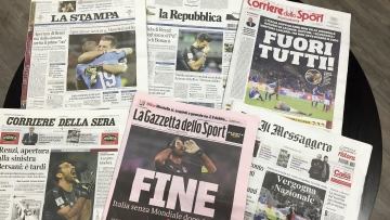 Italian newspapers headline Italy's failure to qualify for the World Cup a day after a scoreless draw between Italy and Sweden in a qualifying playoff on a 1-0 aggregate, in Rome, Tuesday, Nov. 14, 2017.