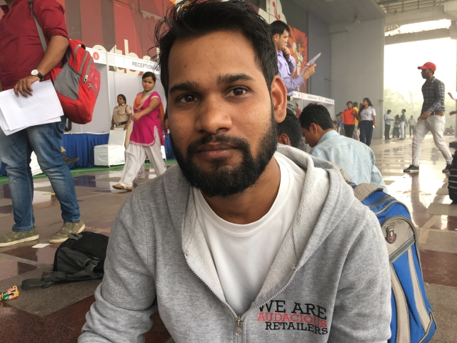 Ajay registered online for a position in data entry. He says there were none when he arrived at the job fair.