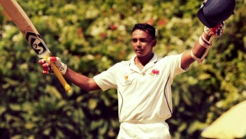 Mumbai's Prithvi Shaw celebrates after scoring a century during the Ranji Trophy match against Tamil Nadu.