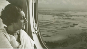 Indira Gandhi surveying the flood ravaged areas of Uttar Pradesh and Bihar in 1966.