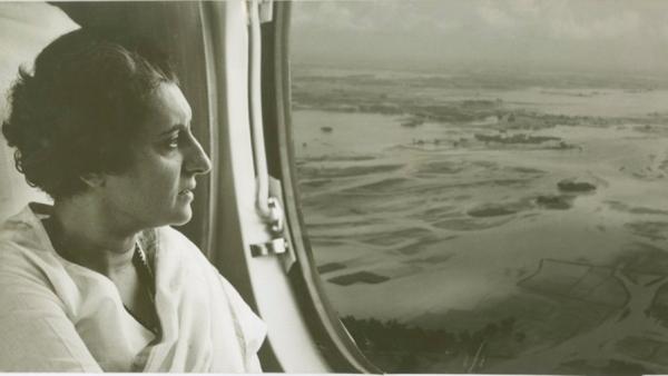 Indira Gandhi surveying the flood ravaged areas of Uttar Pradesh and Bihar in 1966.