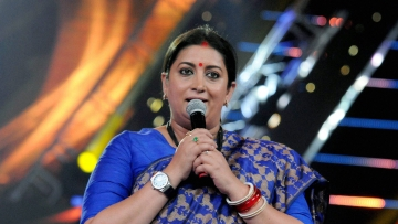 Union minister Smriti Irani speaks at the 48th International Film Festival of India in Panaji.