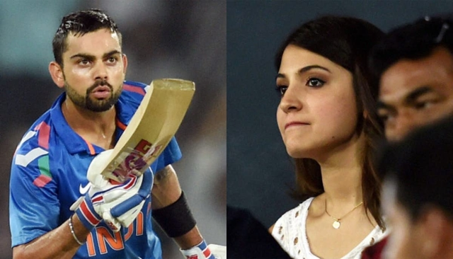 Virat Kohli blows a kiss to his girlfriend Anushka Sharma after scoring a fifty against Sri Lanka in November, 2014.