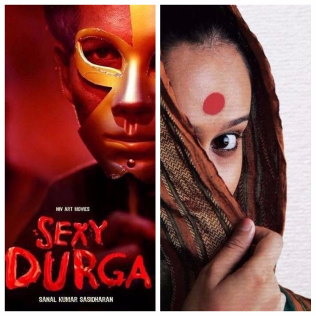 Posters of '<i>Sexy Durga</i>' and '<i>Nude</i>' (left to right).