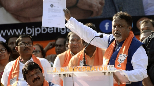 Mukul Roy addresses a BJP rally in Kolkata.
