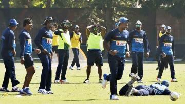Kolkata: Sri Lankan players during a practice esession at Salt Lake in Kolkata on Thursday.