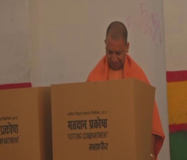 UP CM Yogi Adityanath casts his vote in Gorakhpur.