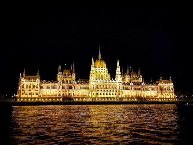The Hungarian Parliament in the night.