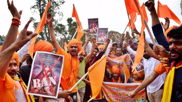 Karni Sena members protesting against the release of <i>Padmavati</i>.