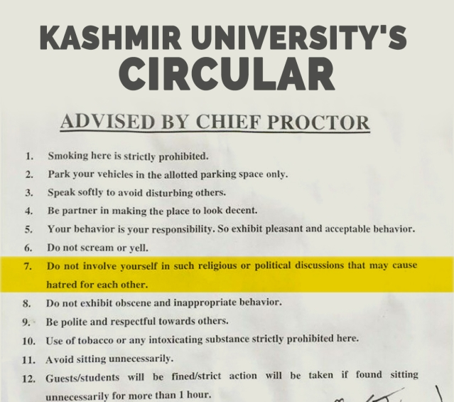 The circular issued by the Chief Proctor of Kashmir University.
