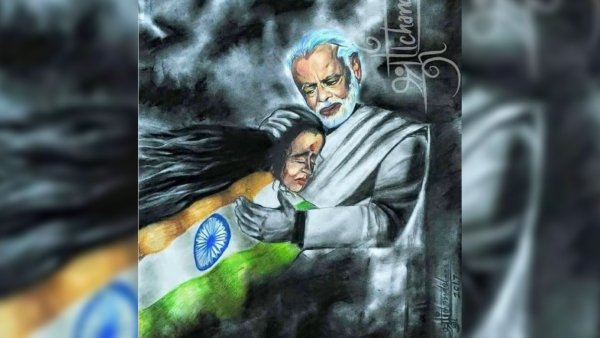 A painting by an artist representing how PM Modi protecting mother India.