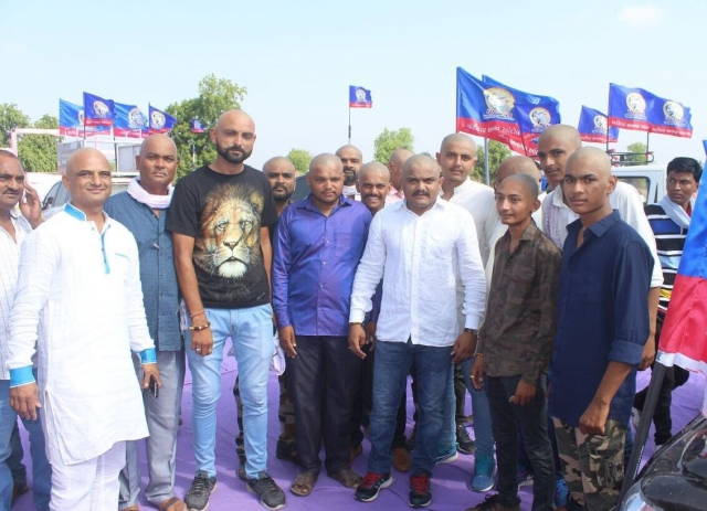 Hardik Patel and 50 of his supporters got their heads tonsured on 21 May 2017 to protest the alleged atrocities committed by the BJP government against the Patidar community