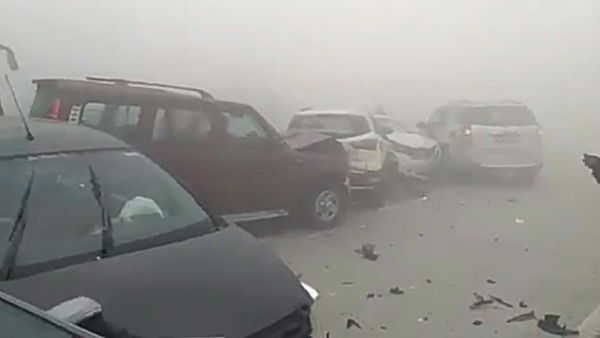 A multiple-vehicle collision on the Yamuna Expressway due to smog.