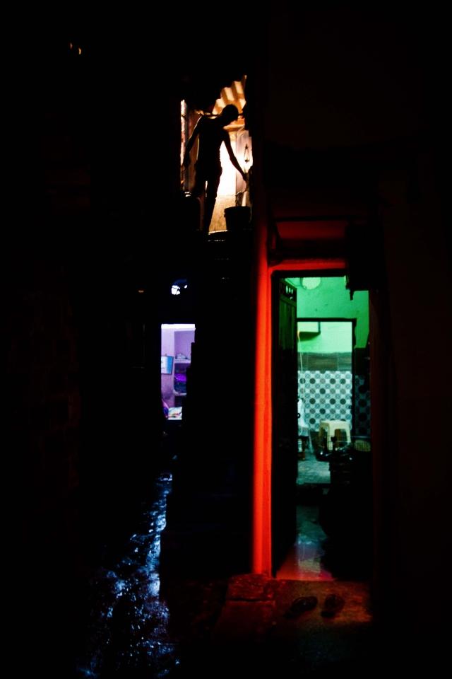 Inside the narrow lanes of Chandrawal Basti, North Delhi.