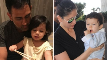 Ziva with dad MS Dhoni and Taimur with his mother Kareena Kapoor.