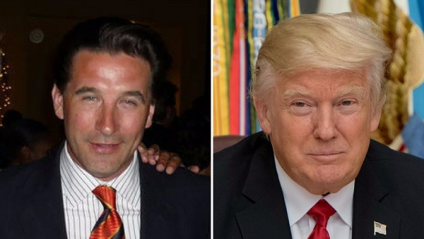Actor Billy Baldwin (left) and US President Donald Trump (right)
