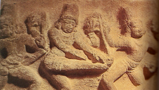 A sculpture at the Brihadeeswara temple in Tanjore, Tamil Nadu.