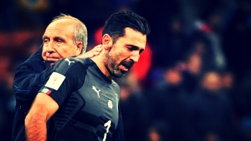Italy coach Gian Piero Ventura, left, consoles Gianluigi Buffon at the end of the World Cup qualifying play-off return leg soccer match between Italy and Sweden, at the San Siro stadium in Milan, Italy, Monday, Nov. 13, 2017.