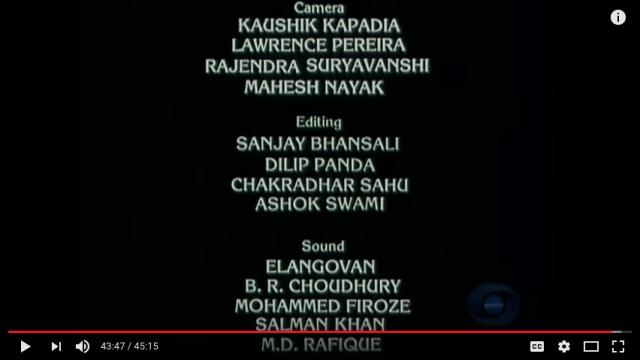 Sanjay Bhansali in the credits for assistant editor on<i>Bharat Ek Khoj.</i>