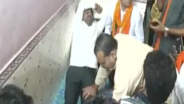 After an exhausting day of campaigning, a 'tired' Uttar Pradesh cabinet minister got a foot massage from BJP workers.