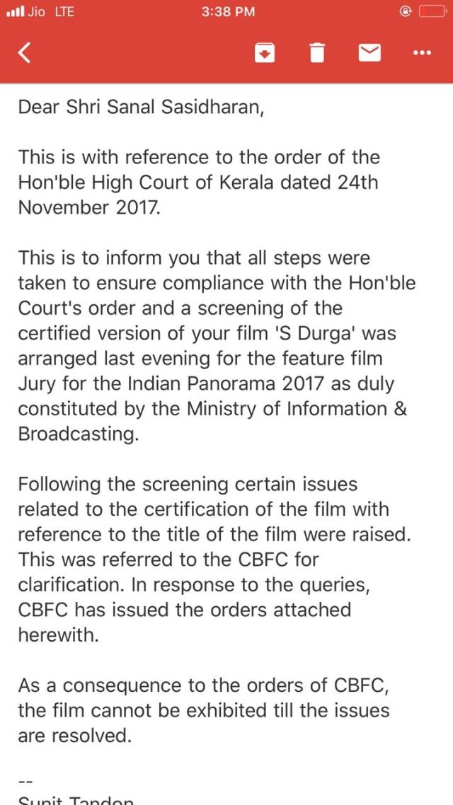 IFFI's mail to filmmaker Sanal Kumar Sasidharan.
