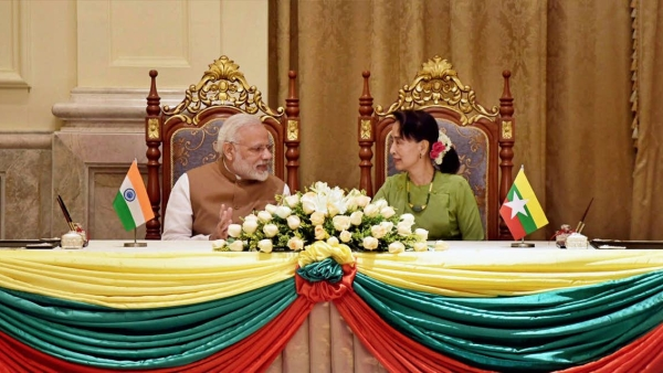 PM Modi with the State Counsellor of Myanmar Aung San Suu Kyi, at the Presidential Palace in Naypyidaw, Myanmar in Sept 2017.