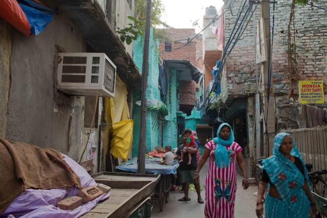 An air-conditioner at a house in Kabir Nagar, north Delhi.
