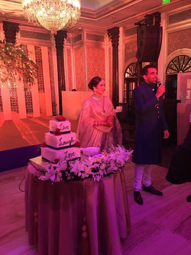 Zaheer giving a speech at the wedding reception.
