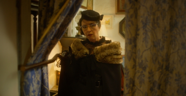 Shernaz Patel in the role of M Bellows, an eccentric lady with a death stare.