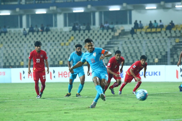 Sunil Chettri in action during the match.