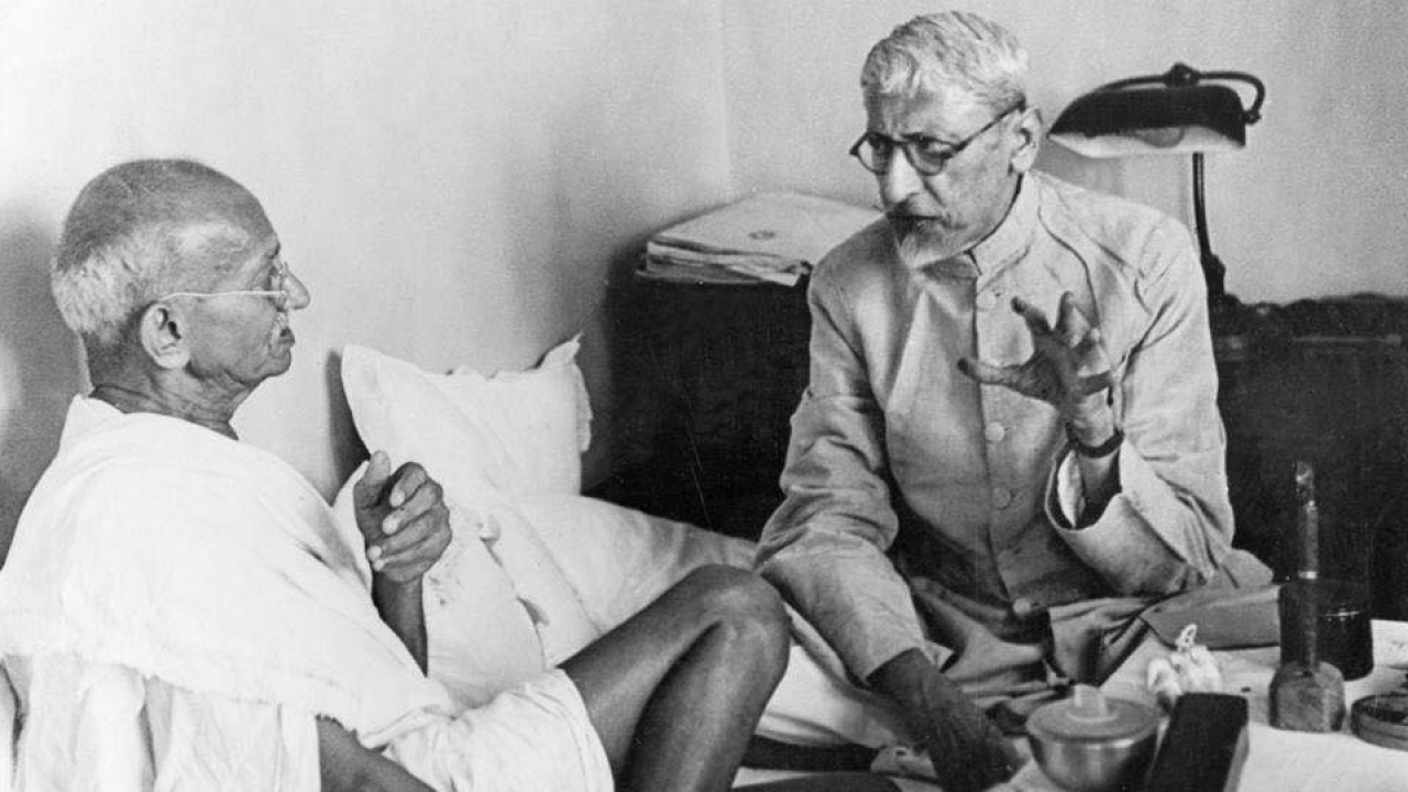 Maulana Azad with Gandhi
