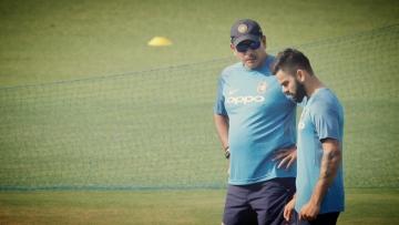 Indian skipper Virat Kohli with coach Ravi Shastri during India's practise session at Eden Gardens.