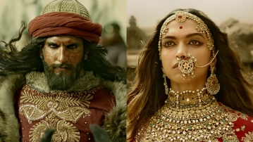 Ranveer Singh as Alauddin Khilji and Deepika Padukone as Rani Padmavati in the film <i>Padmaavat</i>.
