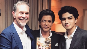 Netflix CEO Reed Hastings, Shah Rukh Khan and Bilal Siddiqi.