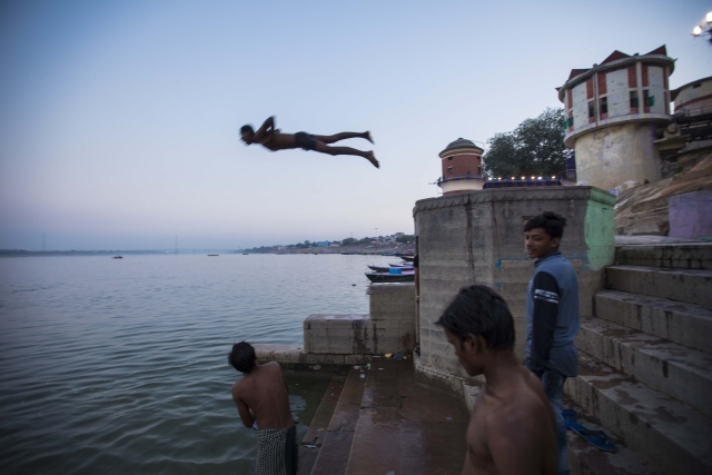 Taking a dip in the Ganges.