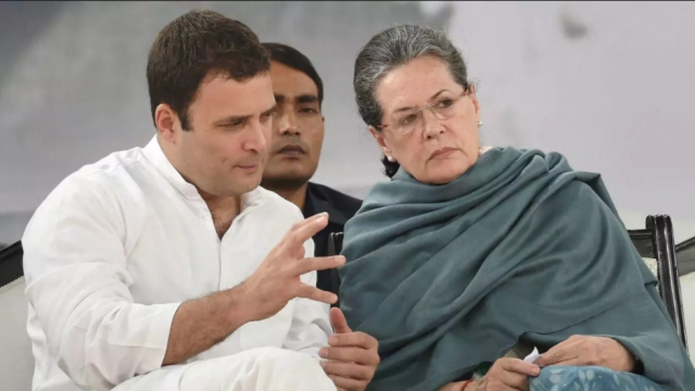 Congress President Rahul Gandhi with his mother and party leader Sonia Gandhi.