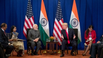 US President Donald Trump and PM Narendra Modi hold a bilateral meeting during the ASEAN Summit on Monday, 13 November.