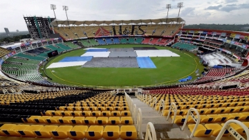 Green Field Stadium covered due to heavy rains in Thiruvananthapuram on Monday, a day before the third and final T20 international cricket match between India and New Zealand.