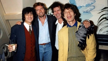 Richard Branson (second from left) with the legendary Rolling Stones.