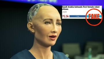 No, Saudi Arabia did not behead a female robot because she didn't cover her head in public and appear without a male guardian.