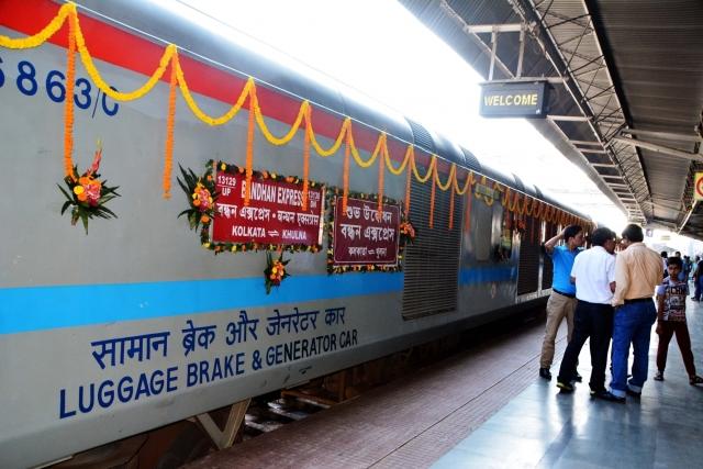 A view of the newly inaugurated Kolkata-Khulna Bandhan Express at Kolkata Station
