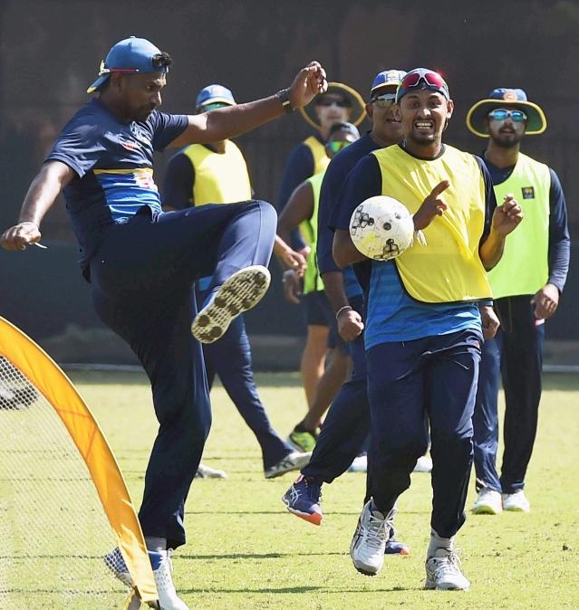 Kolkata: Sri Lankan cricketers play football during a practice esession at Salt Lake in Kolkata on Thursday