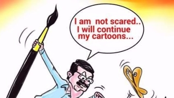 Cartoonist Bala says he is not scared and will continue drawing cartoons.