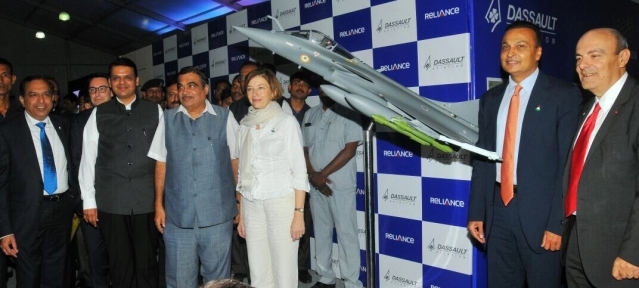 Anil Ambani (second from right) joined Maharashtra CM Devendra Fadnavis, Union Minister Nitin Gadkari, ambassador Alexandre Ziegler and Dassault's CEO, Eric Trappier on 27 October 2017 to lay the foundation stone for the Dassault Reliance Aerospace Park in Nagpur.